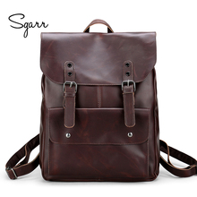 Multi-function Men Bag Crazy Horse PU Leather Backpack Men Daily Rucksacks Large Capacity Computer Bag School Bags For Teenagers