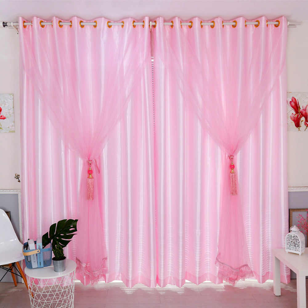 Latest 2pcs/lot Lovely Cute Shiny Pink Sheer Beads Window Curtain for Living Room Tulle Girls Cortinas Organza Salon Blackout