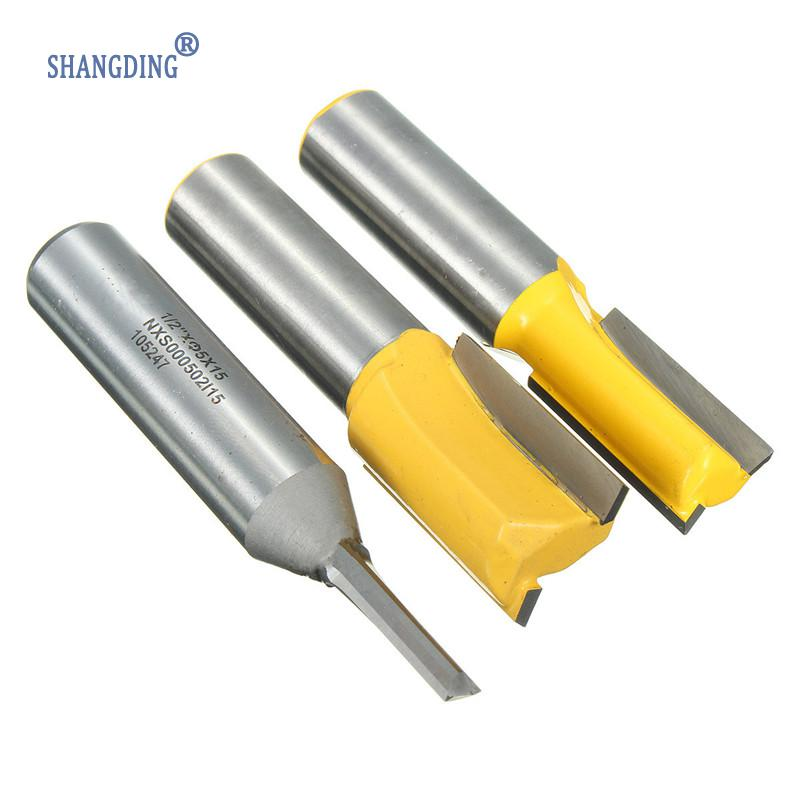 New 3Pcs/Set Dado Router Bit Two Flutes Shank CNC Milling Cutter Drill Bits For 3/4 Inch 1/2 Inch 1/4 Inch Plywood Woodworking<br>
