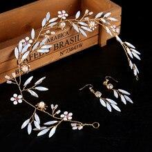 3 pcs Bride Hair Jewelry Gold Crystal Wedding Headband For Bride Hair Accessories Fashion Women Jewelry Rhinestone HeadPieces(China)