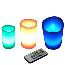 3pcs/lot Colorful Changing Colors RGB LED Flameless Paraffin Wax Candles 18keys remote controller Wedding Christmas Decor
