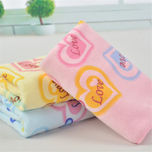1PC Colorful Soft Towel Heart Love Letter Printed Pink Blue Yellow Color Sweet Soft Face Hand Hair Towel Super Quick-Drying(China)