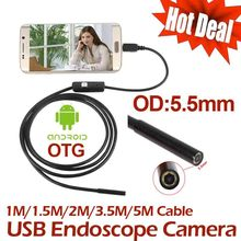 5M 3.5M mini Android USB Endoscope Camera 2M 1.5M 1M IP67 Waterproof Snake Tube inspection Android OTG USB Borescope Camera