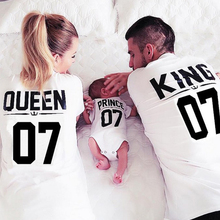 Family Matching Outfits Mother Daughter T shirt Clothes Girls Shirts Queen King Princess Prince Clothing