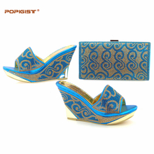 Festival wedges shoes for women matching with evening bag summer shoes prom pumps open toe shoes Wedges sandals lake blue color