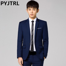 PYJTRL Men's Trend Fashion Two-piece Business Casual Wedding Groom Suits Terno Slim Fit Masculino Latest Coat Pant Designs