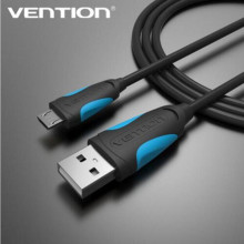 Vention Micro USB Cable 5V 2.4A Micro USB 2.0 Fast Charging Data Cable 1m 1.5m 2m 3m for Mobile Phone and Tablets-Black-ice blue