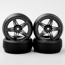 4pcs 1:10 RC Drift Tires & Wheels hub Rim for HSP HPI On-Road Racing Car 12FM+PP0367