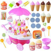 1Set Kids Simulation Candy Ice Cream Trolley Mini Pusher Car Toy Candy Ice Cream Supermarket Music Kids Pretend Play Toy(China)