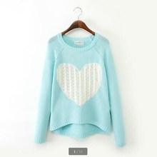 2015 Wool Blend Brand Elegant Heart Pattern Pullover O-neck Long Sleeve Knitwear Stylish Knitted Women's Sweaters Tops ZL0576(China)