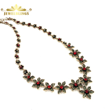 Bohemian Antique Red Crystal Orchid Flower Necklaces Gold Tone Chain Crafts Six Petal Daisy Flower Deco Vintage Floral Necklace