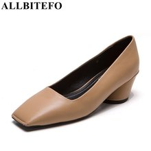 ALLBITEFO square toe genuine leather thick heel women pumps fashion brand high heel laies shoes woman women's shoes Sra zapato
