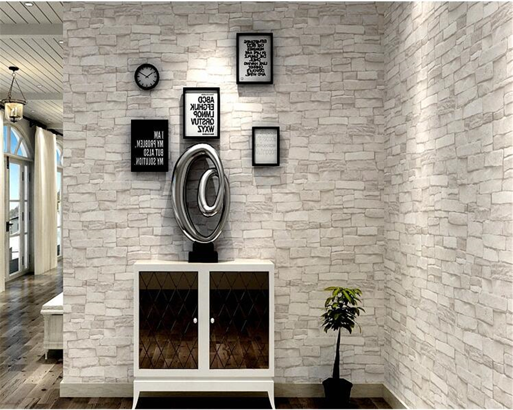 Beibehang Vintage Brick white Red Brick Green Brick Wallpaper Coffee Shop Clothing Store Culture Stone Background Wallpaper roll<br>