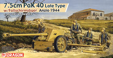 "1/35 scale model Dragon 6250 Germany 7.5cm Pak40 anti-tank gun late and paratroopers ""Anzio""(China)"