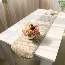 Europe styles letter printing burlap table runners hot sale home  decoration mat wedding table runner