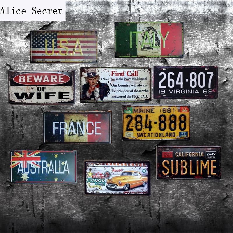 15x30cm Shabby Chic Metal Sign Tin Poster Pub Bar Wall Decor American Flag