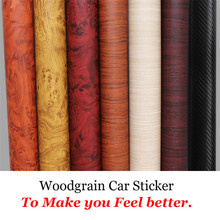 Car Styling 30*200CM PVC Furniture Wood Grain Car Wrap Car Film Internal Stickers Waterproof Self-adhesive Car Sticker(China)