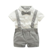New Baby Boy Child Pants Suspenders 2017 Suit Gentleman Suit Style Short/Long Sleeved Shirt + Shorts/Long Pants 0-24M M2(China)
