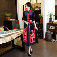 Buy High Mandarin Collar Velour Cheongsam Chinese Traditional Printing Qipao Elegant Sexy Long Dress Plus Size M-4XL for $65.28 in AliExpress store