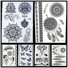 25 Styles Non-Toxic Women Henna Tattoo Black Fake Lotus Mandala Flower Body Arm Art Waterproof Temporary Tattoo Stickers HBJ040(China)