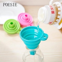 High Quality Mini Silicone Gel Foldable Collapsible Style Funnel Hopper Kitchen cooking tools Random Color
