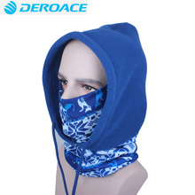 DEROACE Winter Cap Thermal Fleece Ski Mask Face ultraviolet-proof Shield Hat Cold Headwear Cycling Face Mask Filter Scarf
