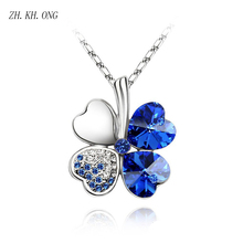ZH.KH.ONG Fashion muluied-color four leaf clover pendant necklace exquisite crystal zircon necklace & pendant for women N1(China)
