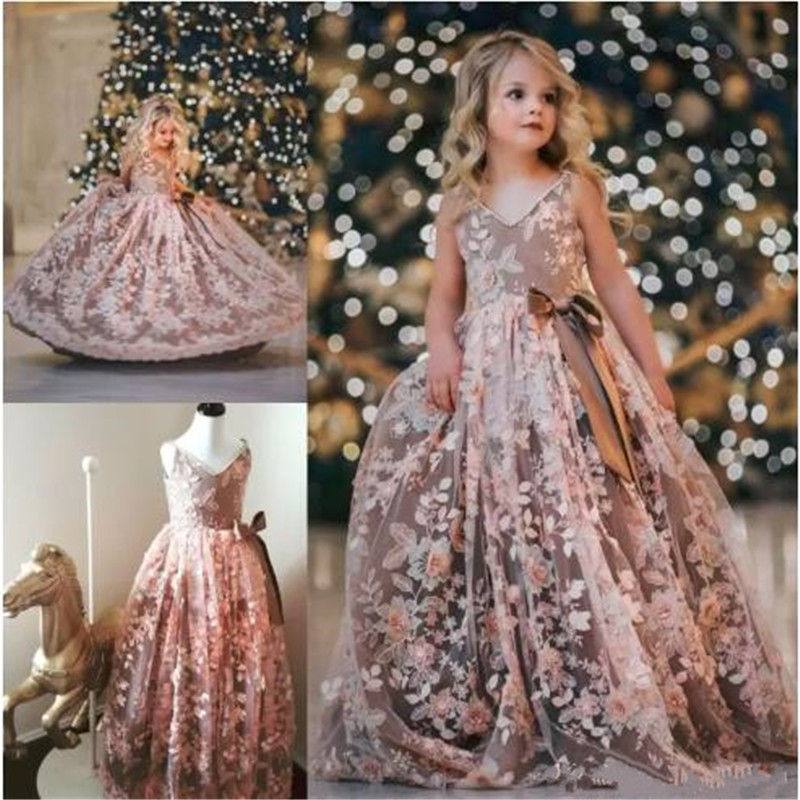 Luxury Flower Girls Dresses with Appliques Pearls Beading Jewel Neck Evening Gowns Tulle Sleeveless Flower girl Dress For Sales