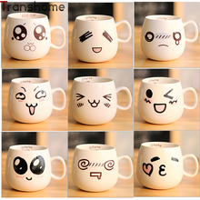 320ml Cute Coffee Mugs Expression Porcelain Mug Creative Gift Tea Ceramic Cup Water Container Wholesale Transhome