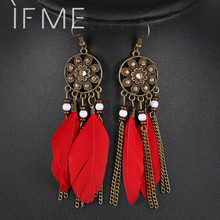 Retro Women Fashion Personality Punk Classic Bronze Earrings Flower Rhinestone Feather Tassel Pendant Earrings For Women Drop(China (Mainland))