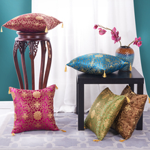 SunnyRain 1-Piece Imitated Silk Chinese Style Cushion Cover Decorative Pillow Cover Square 42x42cm(China)
