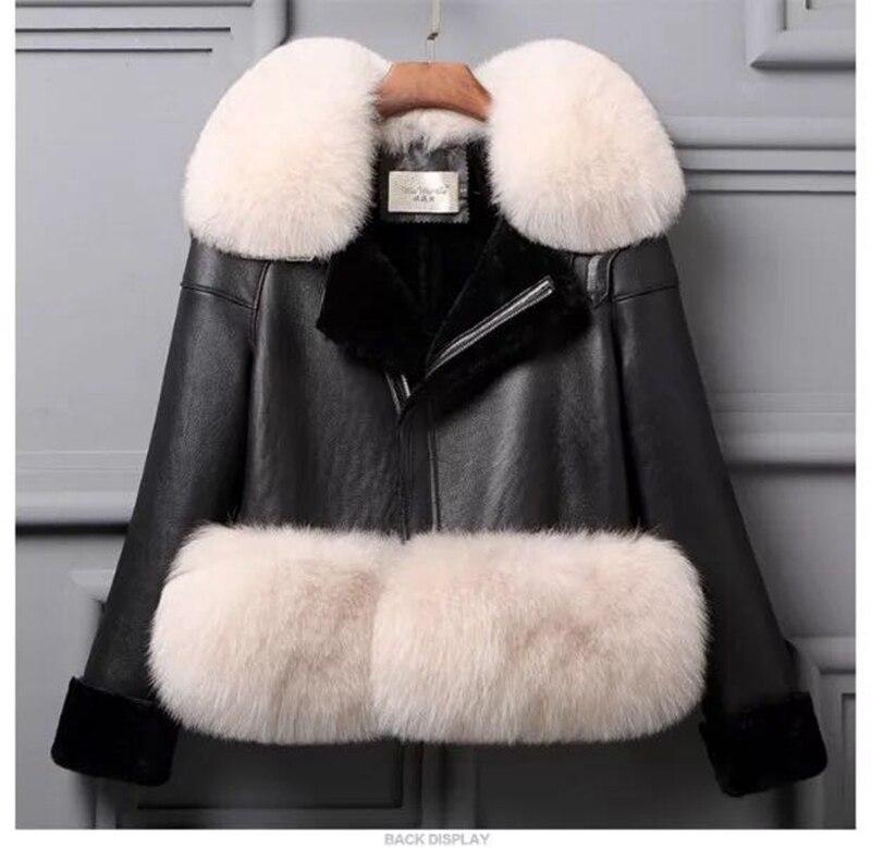 genuine sheep leatherskin jacket fox fur cooar coats (19)