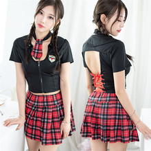 Buy Role Play Schoolgirl Porn Babydoll Sexy Costumes Erotic Lingerie Sexy Student Uniform Plaid Erotic Mini Dress Women's Underwear