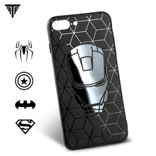 Embossing Black Soft Ultra-thin Matte Batman Phone Case for iPhone 8 7 6 6S plus Back Cover for iPhone X iron Maniron Superman(China)