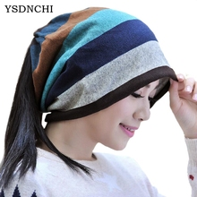 YSDNCHI 2017 Hip Hop Skullies Snowboard Hooded Cap Women Fall Hat Double Knit Striped Trendy Fashion Stitching Color Head Caps