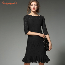 King Bright 2017 Elegant Women Mermaid Lace Party Dresses S-XL Size Spring Ruffles Women Sexy Lace Dress Rose Red Black Color(China)