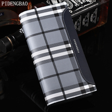 PIDENGBAO Men's Leather Wallets Fine Fashion Long Credit Bags Men's Card Holder ID Card Holder High Quality Plaid Clutch Wallets(China)