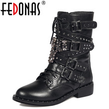 Buy FEDONAS Fashion Autumn Winter Handmade Punk Genuine Leather Warm Snow Boots Motorcycle Boots Women Mid-calf Boots Shoes Woman for $62.70 in AliExpress store