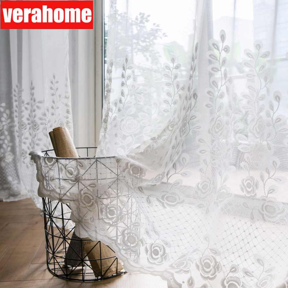 Modern simplicity Solid jacquard white rose floral tulle Voile sheers curtains for living room bedroom windows