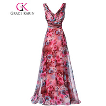 Grace Karin Long Prom Dress High Quality The Most Beautiful Formal Party Gown Floral Pattern Sleeveless Special Occasion Dress