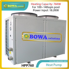 76KW super Hi-cop heat pump water heater for 100~140sqm swimming pool,  please consult us about shipping costs