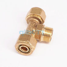 "12x16mm IDxOD x 1/2"" BSP Male PEX-AL-PEX Tube Tee Brass Compression Pipe Fitting Connector For Floor Heating(China)"