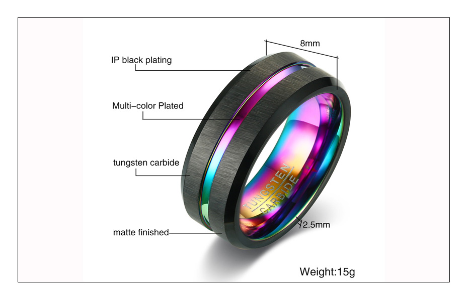 Meaeguet Black Brushed Tungsten Carbide Wedding Ring For Men Women Wedding Bands Rainbow Carbon Fiber Groove Jewelry (5)