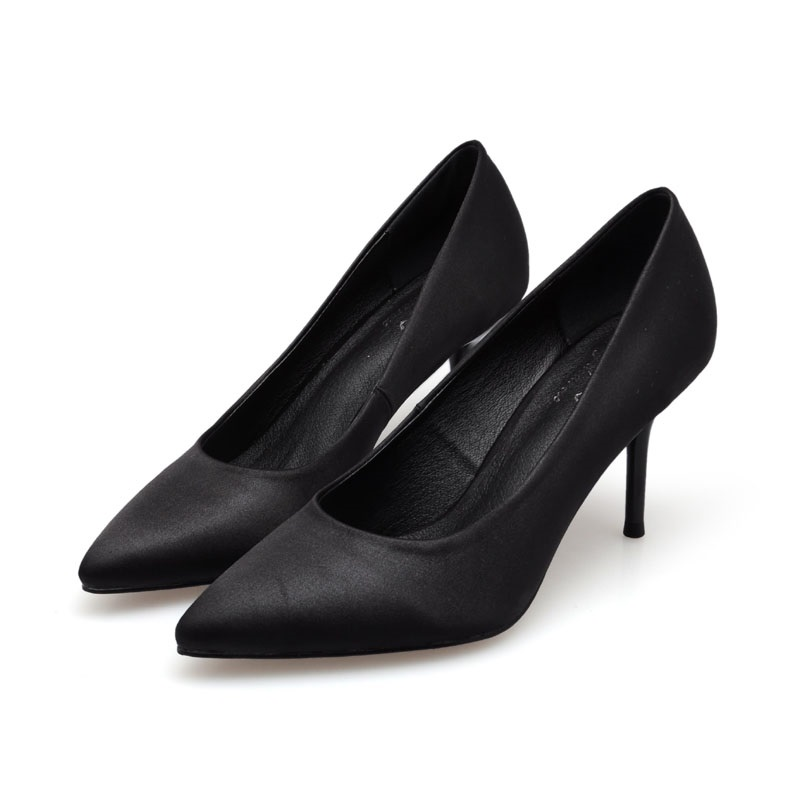 2017 Size 34-41 Fashion Black Sexy Silk Pointed Toe High Heels Women Pumps Ladies Shoes Woman Chaussure Femme Red Pink Optional<br><br>Aliexpress