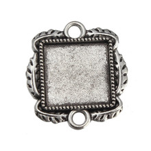 Square 15mm Blank Pendant Trays Connector 30Pcs/lot Antique Silver Cabochon Setting  Fit DIY Bracelet Necklace Jewelry Base