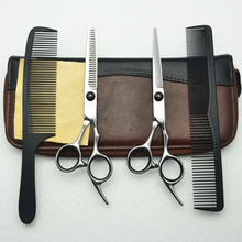 4Pcs Suit 6'' Black CUSTOMIZED LOGO Professional Human Hair Scissors Hairdressing Sears Combs + Cutting Scissor + Thinning C1001(China)
