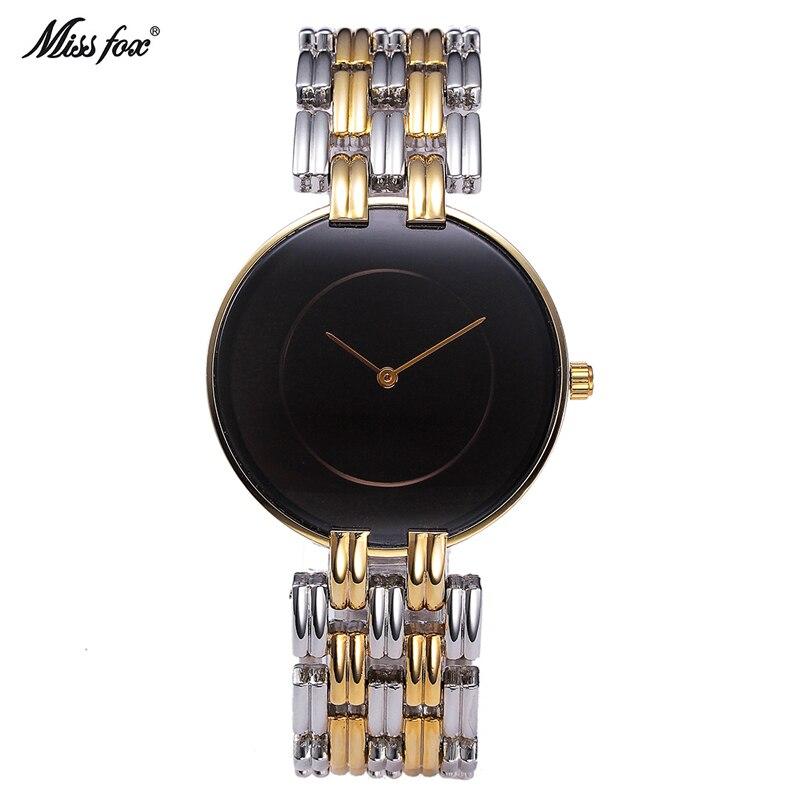 MissFox Brand Luxury Stainless Steel Women Watches Simple Waterproof Quartz Wristwatches Ladies Dress Watch Horloge Reloj Mujer<br>
