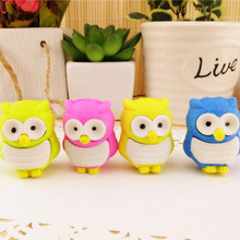 1x novelty 3D owl shape rubber eraser creative kawaii stationery school supplies papelaria gift for kids