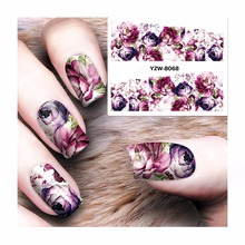 ZKO 1 Sheet Nail Sticker Water Adhesive Foil Nail Art Decorations Tool Water Decals 3d Design Nail Sticker Makeup 8068
