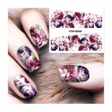 ZKO 1 Sheet Nail Sticker Water Adhesive Foil Nail Art Decorations Tool Water Decals 3d Design Nail Sticker Makeup 8068(China)